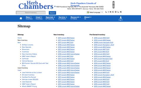Screenshot of Site Map Page herbchamberslincoln.com - Herb Chambers Lincoln of Norwood   New Inventory for sale in Norwood, MA 02062 - captured June 23, 2016
