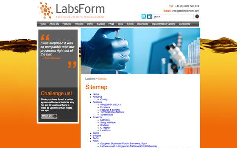 Screenshot of Site Map Page labsform.com - LabsForm :: Sitemap - captured Oct. 7, 2014