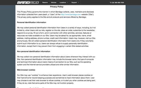 Screenshot of Privacy Page bandago.com - Bandago | Contact Us - captured Dec. 29, 2015
