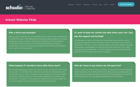 Screenshot of FAQ Page schudio.com - School Website FAQs - All your school website questions answered. - captured July 18, 2018