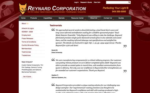 Screenshot of Testimonials Page reynardcorp.com - Reynard Corp. - Testimonials - captured Sept. 23, 2018