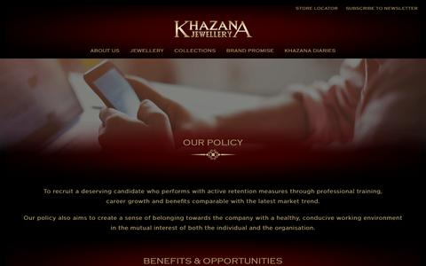 Screenshot of Jobs Page khazanajewellery.com - Our Policy & Working Cultures   Recruitment at Khazana Jewellery - captured Oct. 17, 2017