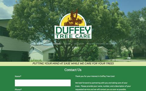 Screenshot of Contact Page duffeytreecare.com - Contact - captured Sept. 24, 2018