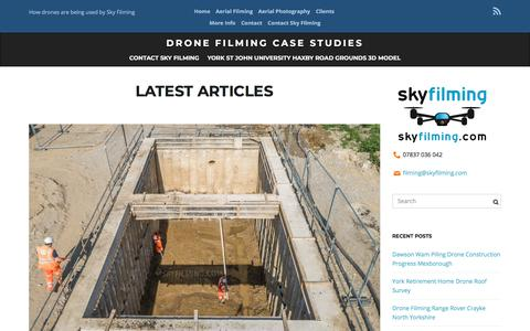 Screenshot of Case Studies Page skyfilming.com - Drone Filming Case Studies - How drones are being used by Sky Filming - captured Sept. 21, 2018