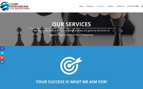 Screenshot of Services Page clarkoutsourcing.com - Services – Clark Outsourcing - captured Jan. 18, 2017