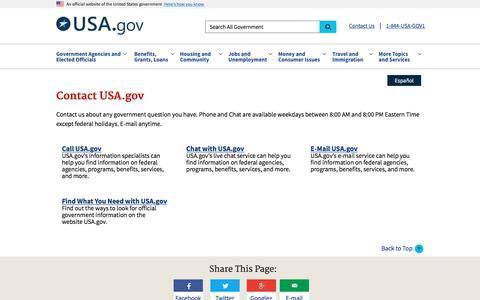 Screenshot of Contact Page usa.gov - Contact Us   USAGov - captured June 20, 2017