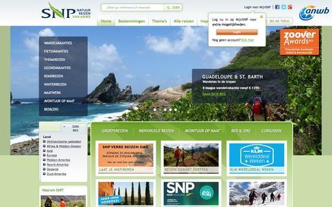 Screenshot of Home Page snp.nl - SNP Natuurreizen | Actieve rondreizen, wandelvakanties en fietsvakanties - captured Jan. 20, 2016