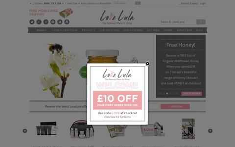 Screenshot of Home Page lovelula.com - LoveLula | Organic skincare | Natural skincare | Organic beauty | LoveLula, the Natural Place to Shop - captured July 11, 2014