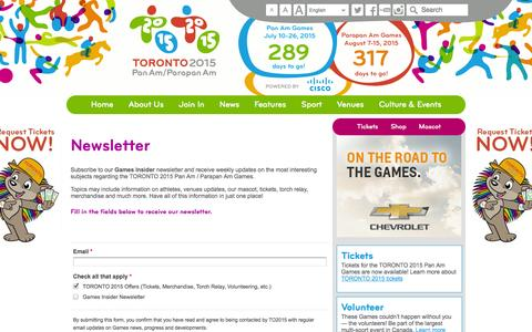 Screenshot of Signup Page toronto2015.org - Newsletter | Toronto 2015 Pan Am / Parapan American Games - captured Sept. 24, 2014