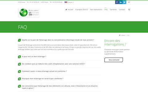Screenshot of FAQ Page ilico-lighting.com - Bureau d'étude ingénieur éclairage lumière LED - captured Nov. 18, 2016