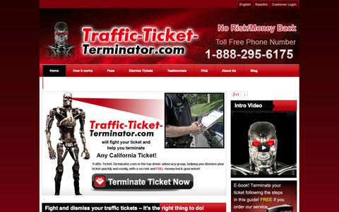 Screenshot of Home Page traffic-ticket-terminator.com - California Traffic Tickets, Dismiss Speeding, Red Light, Camera and Cell Phone Tickets, Fight Traffic Laws California - captured Oct. 6, 2014