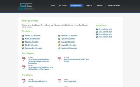 Screenshot of Press Page securelement.com - News & Events   SecurElement Website - captured Oct. 27, 2014