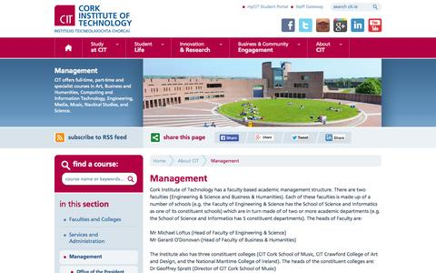 Screenshot of Team Page cit.ie - CIT - Cork Institute of Technology - Management - captured Oct. 3, 2014