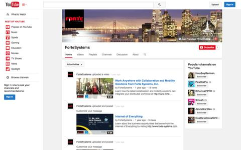 Screenshot of YouTube Page youtube.com - ForteSystems  - YouTube - captured Oct. 23, 2014