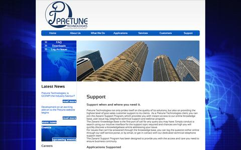 Screenshot of Support Page pretune.co.za - Pretune - Case Studies - captured Oct. 3, 2014