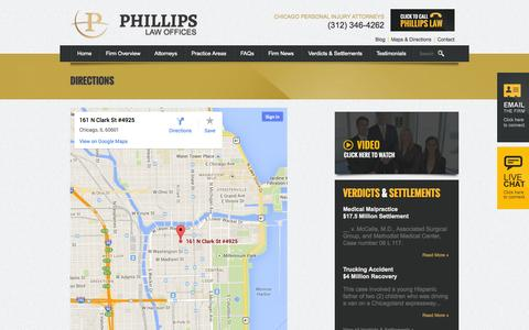 Screenshot of Maps & Directions Page phillipslawoffices.com - Maps & Directions | Phillips Law Offices | 161 N Clark St #4925 Chicago, IL 60601 - captured Sept. 29, 2014