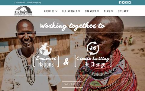 Screenshot of Home Page 410bridge.org - The 410 Bridge | Empowering Nations - captured Feb. 22, 2016