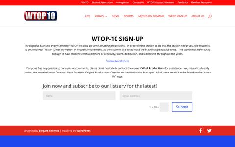 Screenshot of Signup Page wtop10.com - WTOP Sign-Up | WTOP10 - captured Oct. 18, 2018