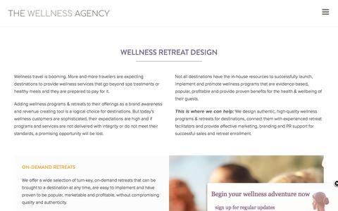 Screenshot of Services Page thewellnessagency.com - Outsourced Wellness Retreat Design & Destination Marketing - captured Nov. 17, 2017
