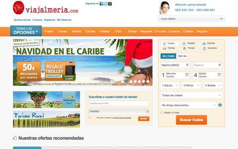 Screenshot of Home Page viajalmeria.com - Ofertas de viajes. vuelos low cost, hoteles, cruceros. - captured Sept. 30, 2014