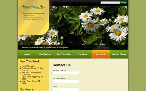 Screenshot of Contact Page rogersspringhill.com - Contact Us - Rogers Spring Hill Garden CenterRogers Spring Hill Garden Center - captured Oct. 9, 2014