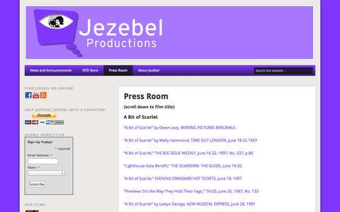 Screenshot of Press Page jezebel.org - Press Room - Jezebel Productions - captured Oct. 6, 2014