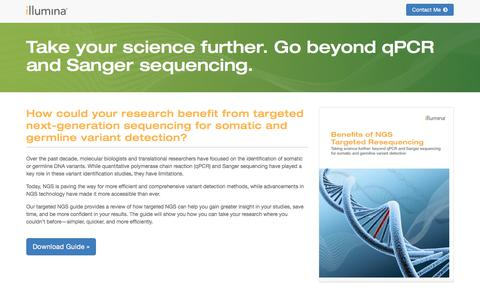 Screenshot of Landing Page illumina.com - Take your science further. Go beyond qPCR and Sanger sequencin - captured Sept. 11, 2017