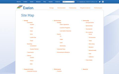 Screenshot of Site Map Page exeloncorp.com - Exelon Corporation: Site Map - captured Sept. 24, 2014