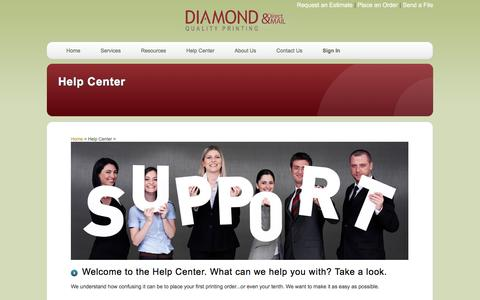 Screenshot of FAQ Page diamondqualityprinting.com - Diamond Quality Printing & Direct Mail: Help Center - captured Feb. 9, 2016