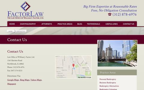 Screenshot of Contact Page wfactorlaw.com - Contact Us » FactorLaw - captured Oct. 6, 2014