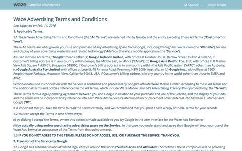 Screenshot of Support Page waze.com - Panel de anunciantes de Waze - captured Nov. 12, 2016