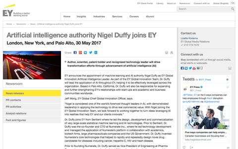Screenshot of Press Page ey.com - News - Artificial intelligence authority Nigel Duffy joins EY - EY - Global - captured Nov. 1, 2017
