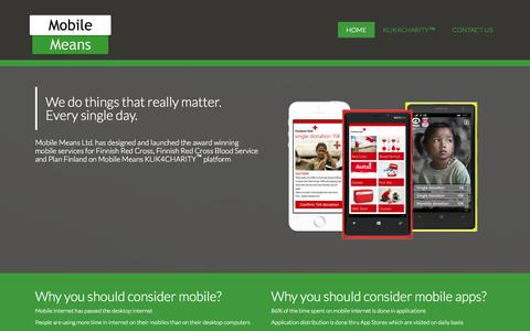 Screenshot of Home Page mobilemeans.com - HOME - Mobile Means Oy - captured Sept. 5, 2015