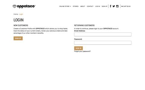 Screenshot of Login Page oppotaco.com - Login : OPPOTACO -, Sports & Lifestyle Apparel - captured Oct. 26, 2014