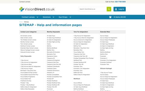 Screenshot of Site Map Page visiondirect.co.uk - Sitemap | Vision Direct - captured Oct. 26, 2014