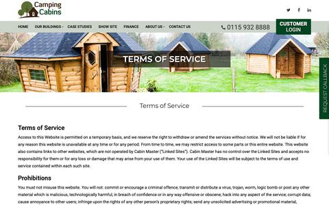 Screenshot of Terms Page campingcabins.co.uk - Terms of Service - Cabin Master Garden Rooms Manufacturer - captured Nov. 20, 2018