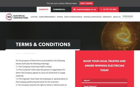 Screenshot of Terms Page kgelectricalcontractors.co.uk - Terms & Conditions - KG Electrical - captured Nov. 6, 2018