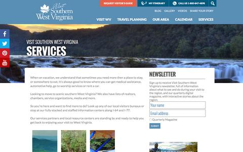 Screenshot of Services Page visitwv.com - West Virginia Travel Services and Resources - captured Nov. 17, 2016