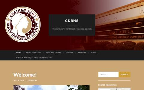 Screenshot of Home Page ckbhs.org - CKBHS | The Chatham-Kent Black Historical Society - captured Oct. 9, 2015