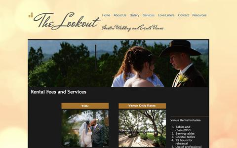 Screenshot of Services Page thelookoutaustin.com - Services and Rental info for The Lookout in Austin, TX - captured June 15, 2017