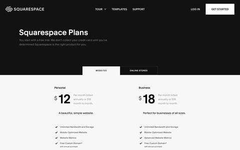 Screenshot of Pricing Page squarespace.com - Squarespace Plans – Squarespace - captured Feb. 11, 2019