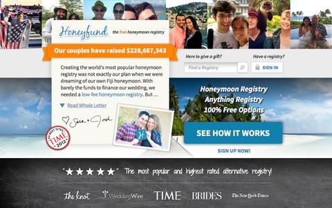 Screenshot of Home Page honeyfund.com - Free Honeymoon Registry by Honeyfund, the #1 Cash Wedding Registry.  No fees, no strings. - captured Sept. 19, 2014