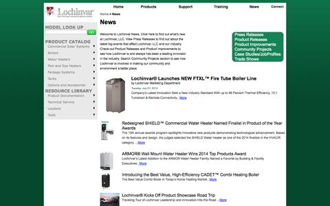 Screenshot of Press Page lochinvar.com - Lochinvar :: News - captured Sept. 23, 2014