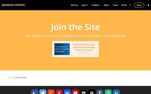 Screenshot of Signup Page himpfen.com - Join the Site - Brandon Himpfen - captured Jan. 18, 2016