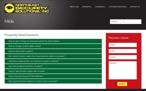 Screenshot of FAQ Page northeastsecuritysolutions.com - FAQs - Northeast Security SolutionsNortheast Security Solutions - captured Nov. 30, 2016