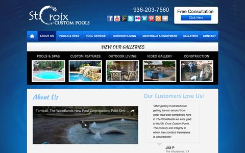 Screenshot of About Page stcroixpools.com - St. Croix Custom Pools | About Us | The Woodlands - captured Dec. 2, 2016