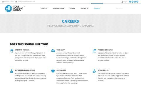 Screenshot of Jobs Page yourlightingbrand.com - Your Lighting Brand  | Careers - captured Oct. 28, 2014