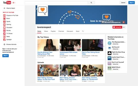 Screenshot of YouTube Page youtube.com - loveisrespect  - YouTube - captured Oct. 23, 2014