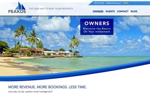 Screenshot of Pricing Page usepeakos.com - Owners | Peakos - captured Oct. 1, 2014