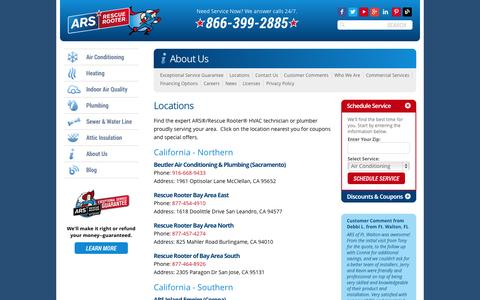 Screenshot of Locations Page ars.com - Locations & Coupons | ARS/Rescue Rooter - captured Sept. 19, 2014